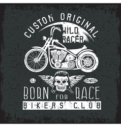 Wild racer grunge vintage print with motorcycle vector