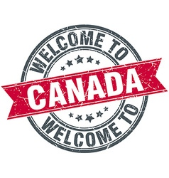 Welcome to canada red round vintage stamp vector