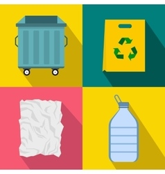 Garbage banners set flat style vector