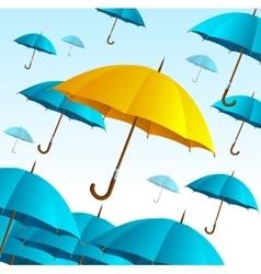 Yellow umbrella on blue fly high vector