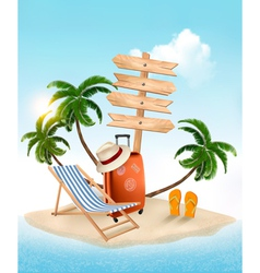 Beach with a palm tree wooden sign and a beach vector