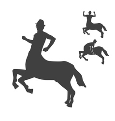 Black and white centaur silhouettes set vector