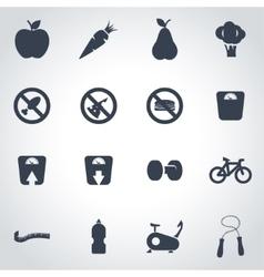black diet icon set vector image vector image