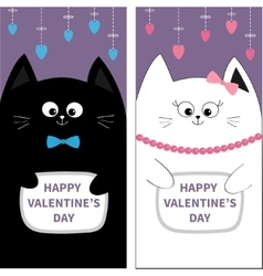 Black white cat couple with bow flyer poster set vector