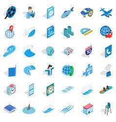 Blue globe icons set isometric style vector