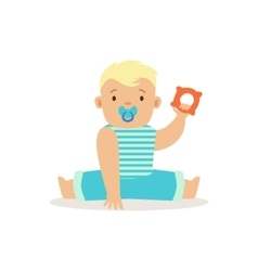 Boy sitting with dummy and teethter adorable vector