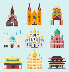 Cathedrals and churches temple building landmark vector