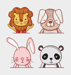 cute and wild animlas doodle cartoons vector image