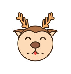 Cute reindeer face kawaii style vector