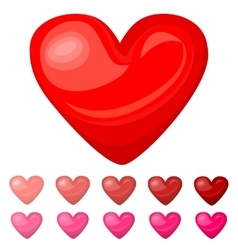 Cute shiny red pink heart icons set isolated on vector image vector image