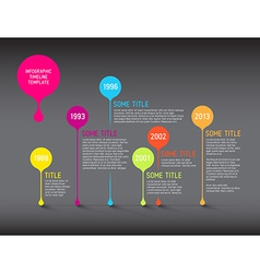 Dark infographic timeline report template with vector
