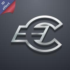 Euro EUR icon symbol 3D style Trendy modern design vector image