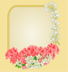 Frame with pink hibiscus and jasmine greeting card vector image vector image