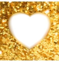 Gold glitter frame heart vector image vector image