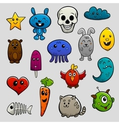 Graffiti characters flat icon set vector