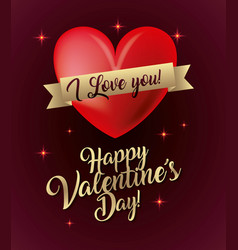 happy valentines day card i love you glow lights vector image