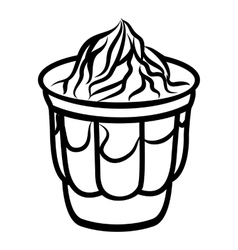 Ice cream in glass icon outline style vector