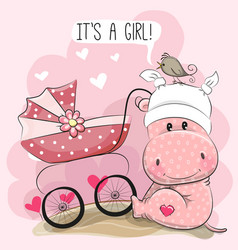 iit is a girl with baby carriage and hippo vector image vector image