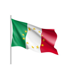 Italy national flag with a star circle of eu vector