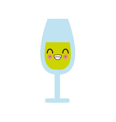 kawaii happy glass cup smile cartoon vector image