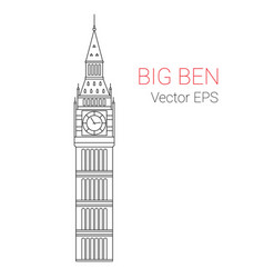 Line icon of big ben tower london vector