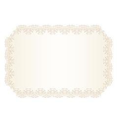 Luxury creamy wedding invitation with lace border vector