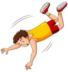 Man in yellow shirt falling down vector