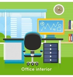 Office interior in flat style modern workspace vector