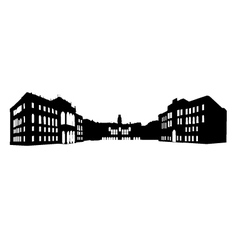 Panoramic old building vector