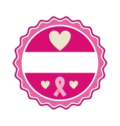 Pink emblem with hearts and symbol breast cancer vector