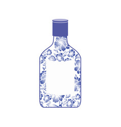Russian vodka bottle gzhel painting national folk vector