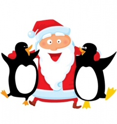 Santa with penguin vector image vector image