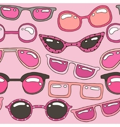 Seamless pattern with pink hand drawn sunglasses vector image vector image