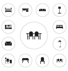 set of 12 editable furnishings icons includes vector image vector image