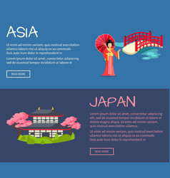 Set of asia and japan flat web banners vector