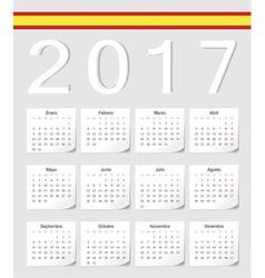 Spanish 2017 calendar with shadow angles vector