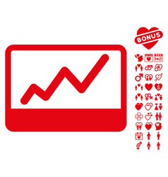 Stock market icon with dating bonus vector