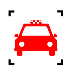 taxi sign red icon inside vector image