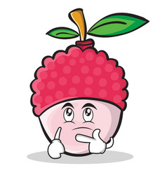 Thinking face lychee cartoon character style vector