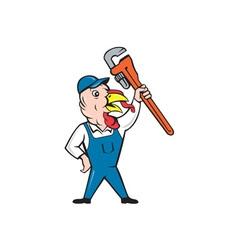 Turkey plumber monkey wrench cartoon vector