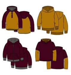 Vinous and mustard hoodies vector