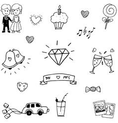Wedding element doodle hand draw vector