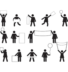 Woman pictogram with blank banners vector