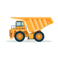 Yellow dump truck with big empty body and small vector