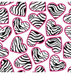 zebra print hearts with pink outline vector image vector image