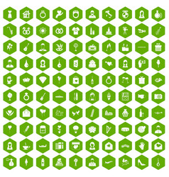 100 wedding icons hexagon green vector