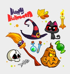 Halloween pumpkin and attributes icons vector