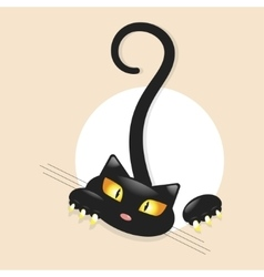 Cute little black kitty vector