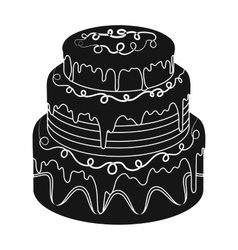 Blue three-ply cake icon in black style isolated vector image