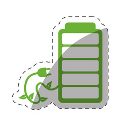 Green battery plug environment design vector
